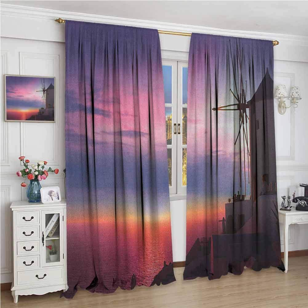 Windmill for Bedroom Blackout Curtains Beautiful Oia Village Santorini Island Greece Colorful Sky Idyllic Aegean Blackout Curtains for The Living Room W96 x L108 Inch Multicolor by GUUVOR