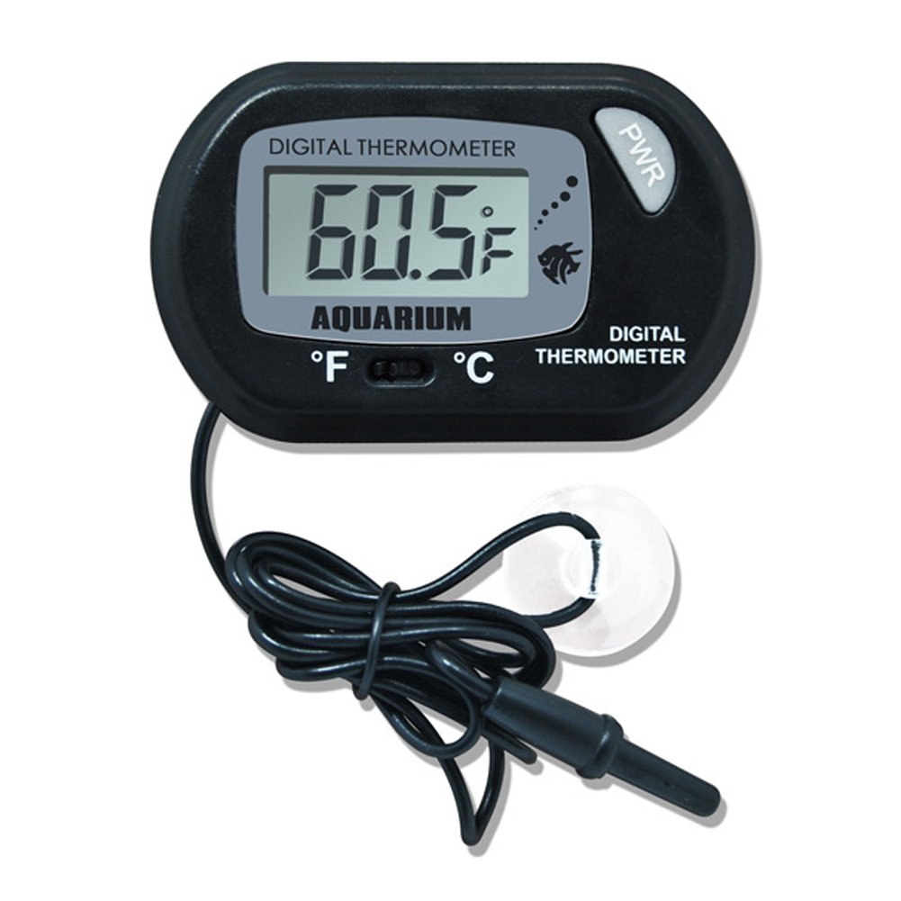 2 Pack Digital Thermometer for Fish Tank Aquarium Reptile Terrarium Switchable Celsius and Fahrenheit with Probe (Black) OMEM CWD-0020