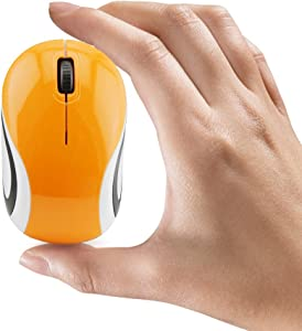 Mini Small Wireless Mouse for Travel Optical Portable Mini Cordless Mice with USB Receiver for PC Laptop Computer (Orange)