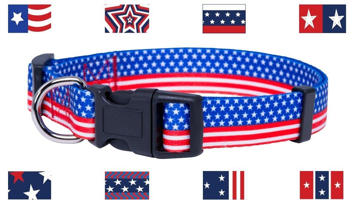 Large American Flag Dog Collar  Patriotic Dog Collar (Large)
