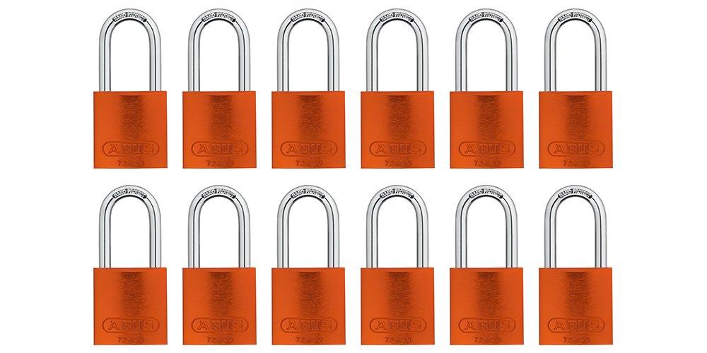 ABUS 72/40 Aluminum Safety Padlock Orange Keyed Alike - Long Shackle (1-1/2'') - 12 Pack by Abus Lock