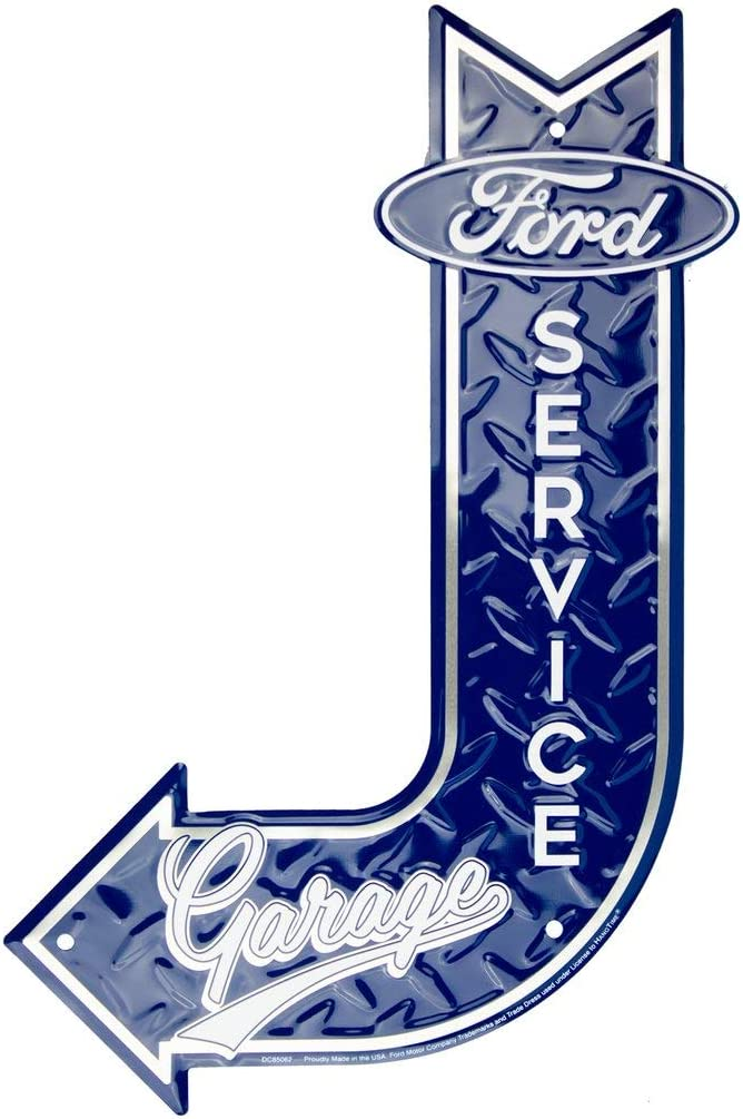 HangTime Ford Service Garage Sign, Vintage Metal Automotive Wall Art Decor, 11.5 in. x 17.5 in, Man Cave Stuff for Men