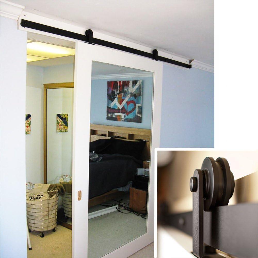 Hahaemall Top Mounted Noir Bois Grange rustique de porte Int/érieur Closet Porte coulissante double Track Roller mat/ériel avec ensemble de fermeture douce