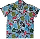 Alvish Hawaiian Shirts 37B Boys Flamingo Beach Aloha Party Camp Aqua Blue S