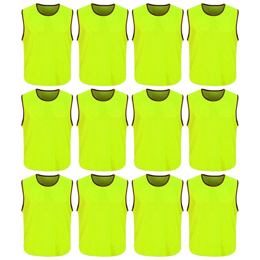 f8e9fa834 DreamHigh DH Mens Soccer Sports Team Practice Pinnies Scrimmage Training  Mesh Vests -12 Pcs Pack ...