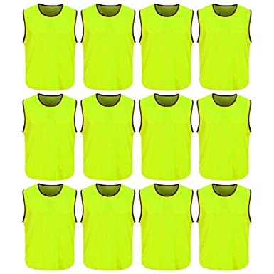 5ef3996fa DreamHigh 12 Pack Soccer Team Sports Training Vest Adult Neon Green One  size (L)