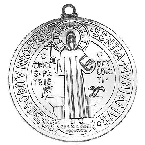- Medalla De San Benito Pendant Big St Saint Benedict Medal Large Wall Medallion Silver Tone Finish