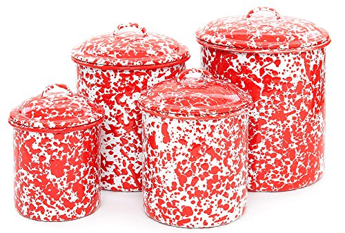 Enamelware 4 Piece Canister Set - Red (Marble Enamelware)