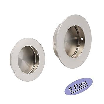 Embellecedor redondo para puerta corredera con tornillos ocultos, 50 mm x 65 mm, acero