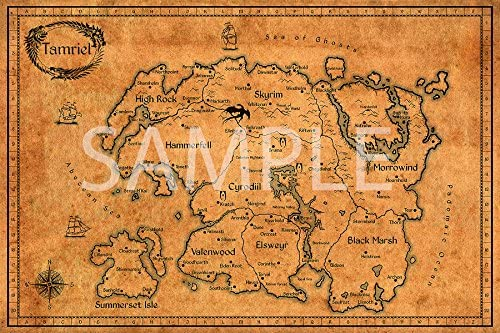 Amazon.com: Best Print Store - Elder Scrolls, Vintage Map of Tamriel ...