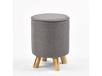 Simla sgabello pouf in tessuto e legno grigio amazon casa e