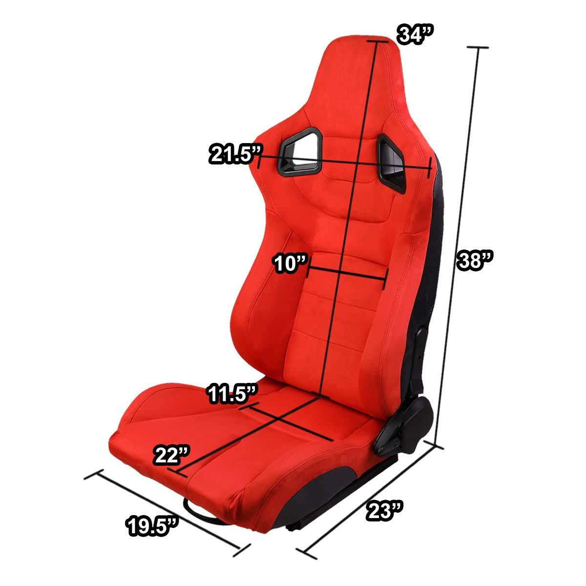 Set of 2 Universal Carbon Fiber Pattern Type-R Suede Reclinable Racing Seats w//Sliders Red