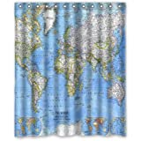 World map shower curtain amazon home kitchen world map background waterproof shower curtainbath curtain size 60 gumiabroncs Image collections