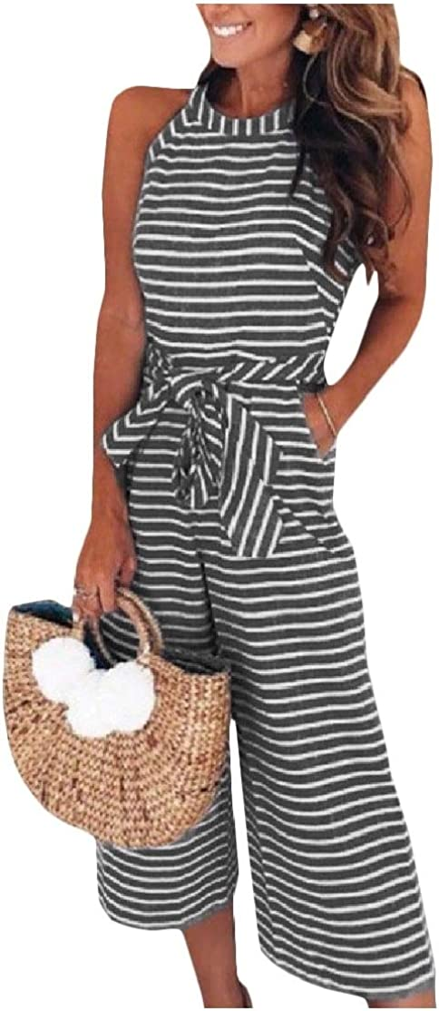Comaba Womens Strip Thin Crew-Neck Belted Pockets Sleeveless Jumpsuits