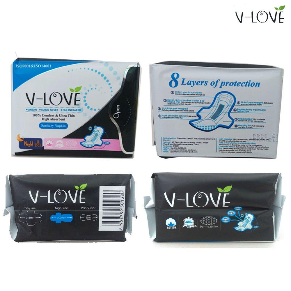 VLOVE Ultra Night toalla sanitaria con Alas, Patentado Anion,8 Por Paquete (Paquete de 4): Amazon.es: Bebé