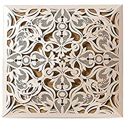 50pcs/lot Laser Cut Hollow Flower Invitations Elegant Lace Cards for Wedding Dinner Party Baby Shower Christmas Greeting CW519_WH (White)