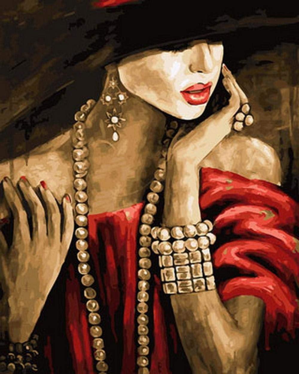 LLXPDZ DIY Arte Pintura al óleo Digital Lienzo acrílico Mural Adultos Principiantes con Pinceles y pigmentos acrílicos Decoración Regalos collar de perlas Sin marco 40X50cm