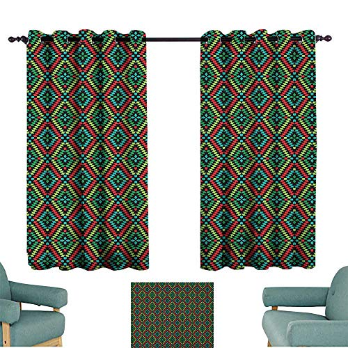 Sanring Afghan,Kids Decor Curtain Colorful Geometric Shapes in Rhombus Pattern Arrangement of Traditional Ethnic Motif 52