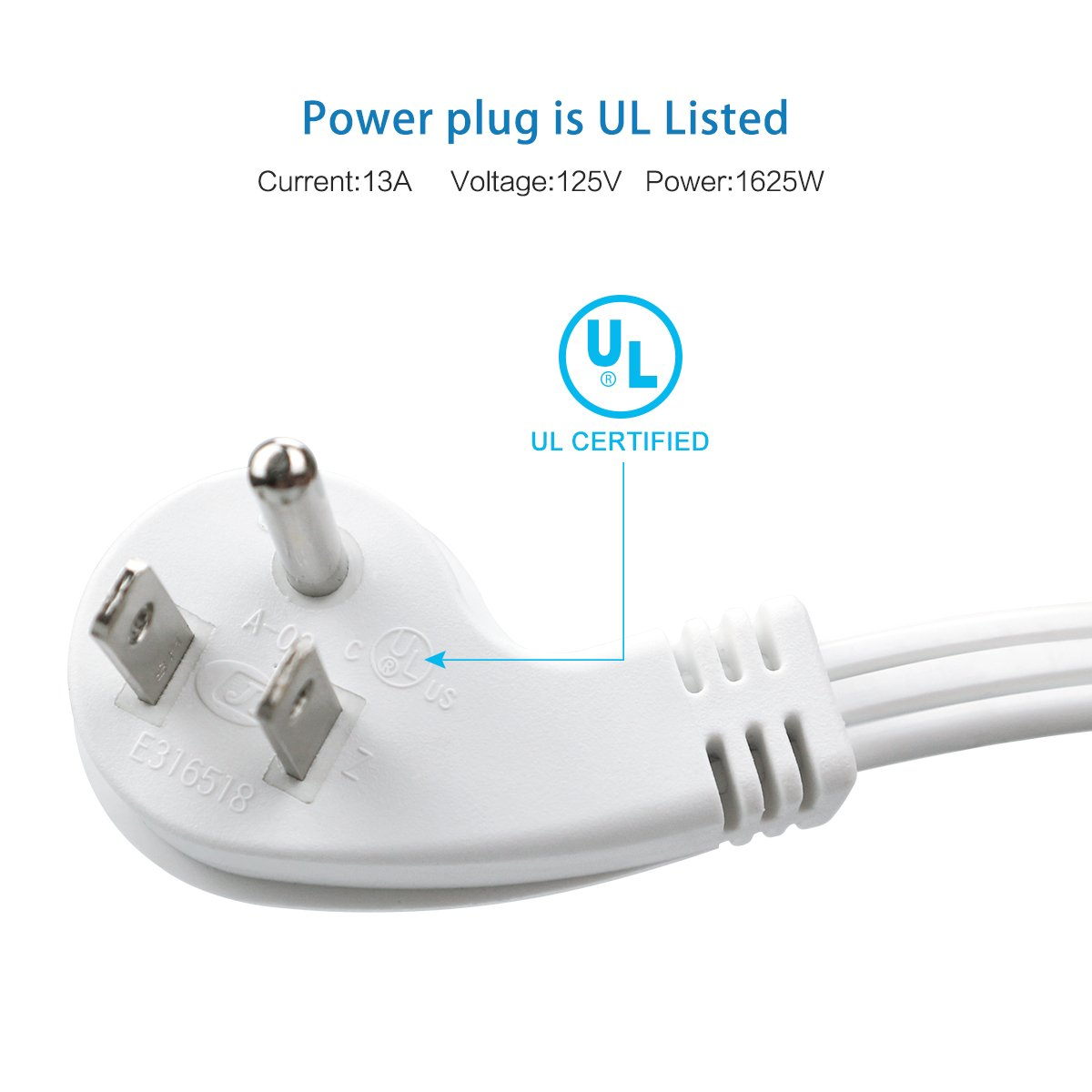 ClearMax 15 Feet 3 Prong Power Flat Extension Cord with Angled Plug - Cable Strip Outlet Saver - 16AWG - 15' - (2 Pack | White) by ClearMax (Image #3)