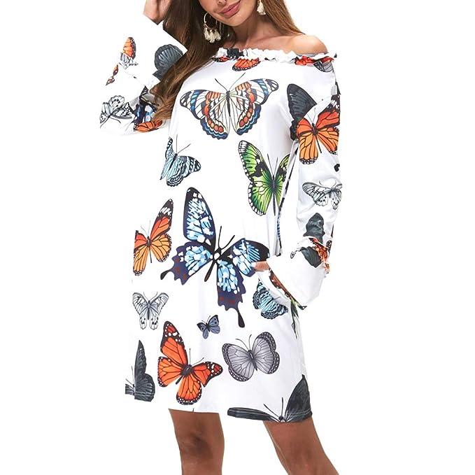 Amazon.com: Vestido de manga larga Maxi con estampado de ...