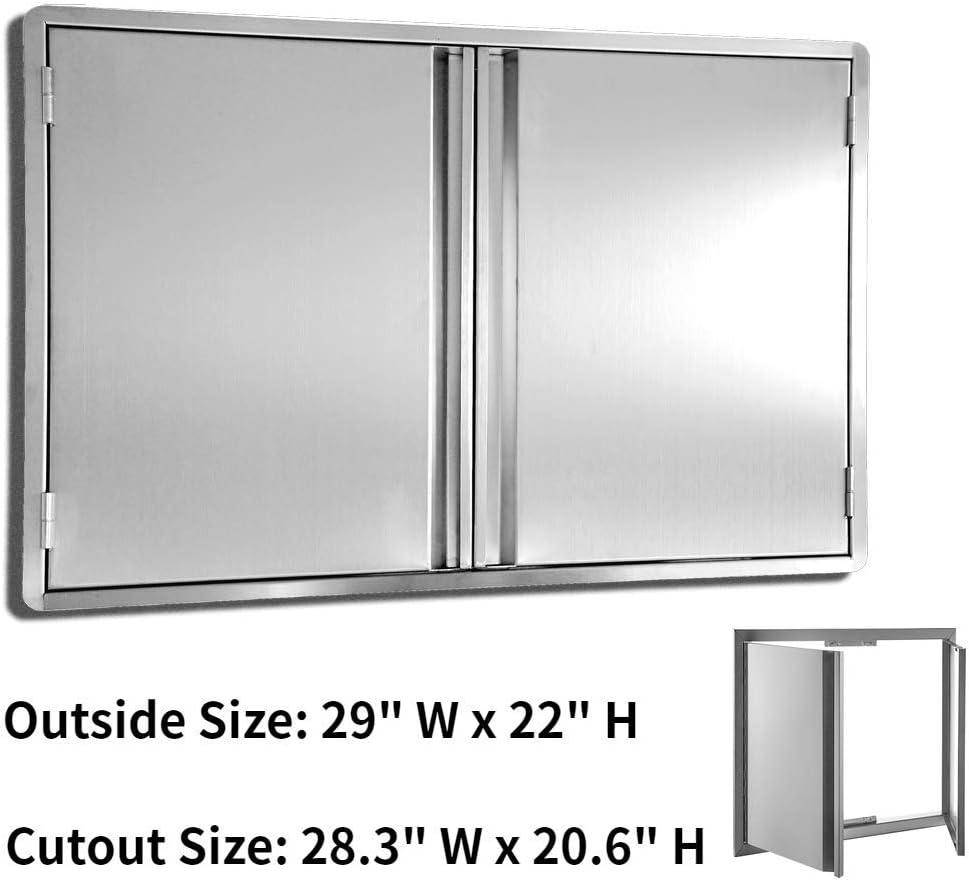 29X22 inch Door Wilk 29 W x 22 H Stainless Steel BBQ Access Door Horizontal Double 304 Stainless Door for Outdoor Kitchen
