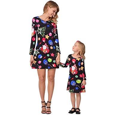 Belle Amour Christmas Women Kids Dress Christmas Xmas Evening Family Party Matching  Dresses (Santa Claus 7973a7493e