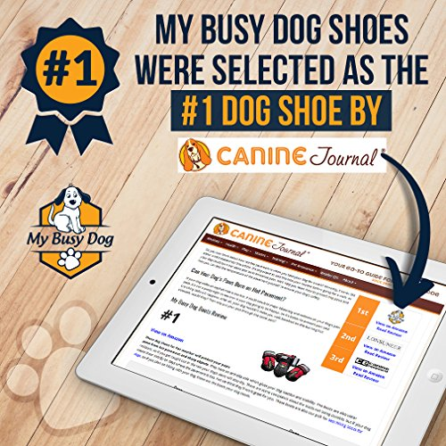 My Busy Dog Water Resistant Dog Shoes with Two Reflective Fastening Straps and Rugged Anti-Slip Sole | Dog Boots Perfect for Small Medium Large Dogs | Size Chart in Pictures (Size 1, Black)