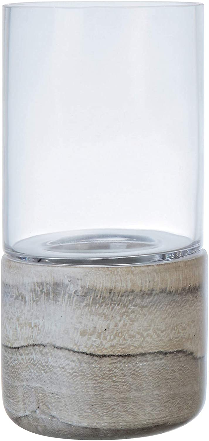 Creative Co-op Small Stoneware Marble Finish & Glass Hurricane Tealight Holder, 9 Inch, Grey
