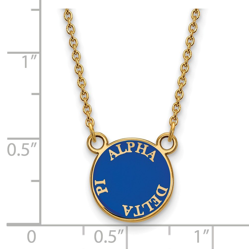 12mm Solid 925 Sterling Silver with Gold-Toned Alpha Delta Pi Extra Small Enl Pendant with Necklace