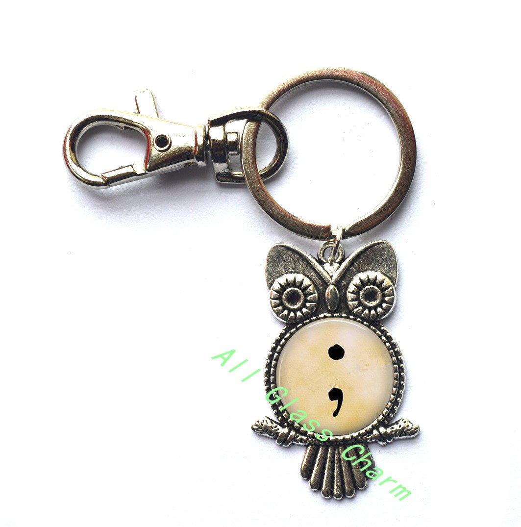 Beautiful Owl Keychain,Semi Colon - Continuation of Life - Sign of Hope - Strength in Mental Health - Love of Self - Semicolon Owl Keychain - Semicolon Owl Key Ring, AS121 AllGlassCharm