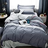 Classical Striped Duvet Cover Sets Twin Size,Queen Size Bedding Sets for Teens Girls Boys,Lightweight,4 Corners,Soft Cotton Colors Print Comforter Cover 3 Pieces-EnjoyBridal (Queen, StripeC)