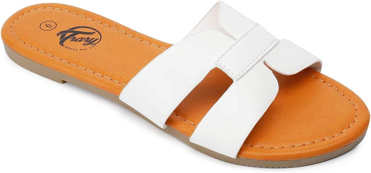 jiajiale Womens Slide Sandals Open Toe Fashion Flat Sandals Single Band Casual Flat Slide Sandal Slip On Summer Slide