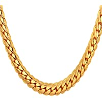 """U7 18K Gold Plated Necklace with 18K Stamp Men Jewelry 4 Colors 6 MM - 9MM Wide Snake Chain Necklace,18""""-32"""""""