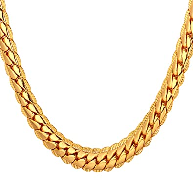 4f5c17fd8 U7 Men Women 18K Gold Plated Chain 18KGP Stamp Fashion Jewelry Boys 6MM  Wide Unique Snake