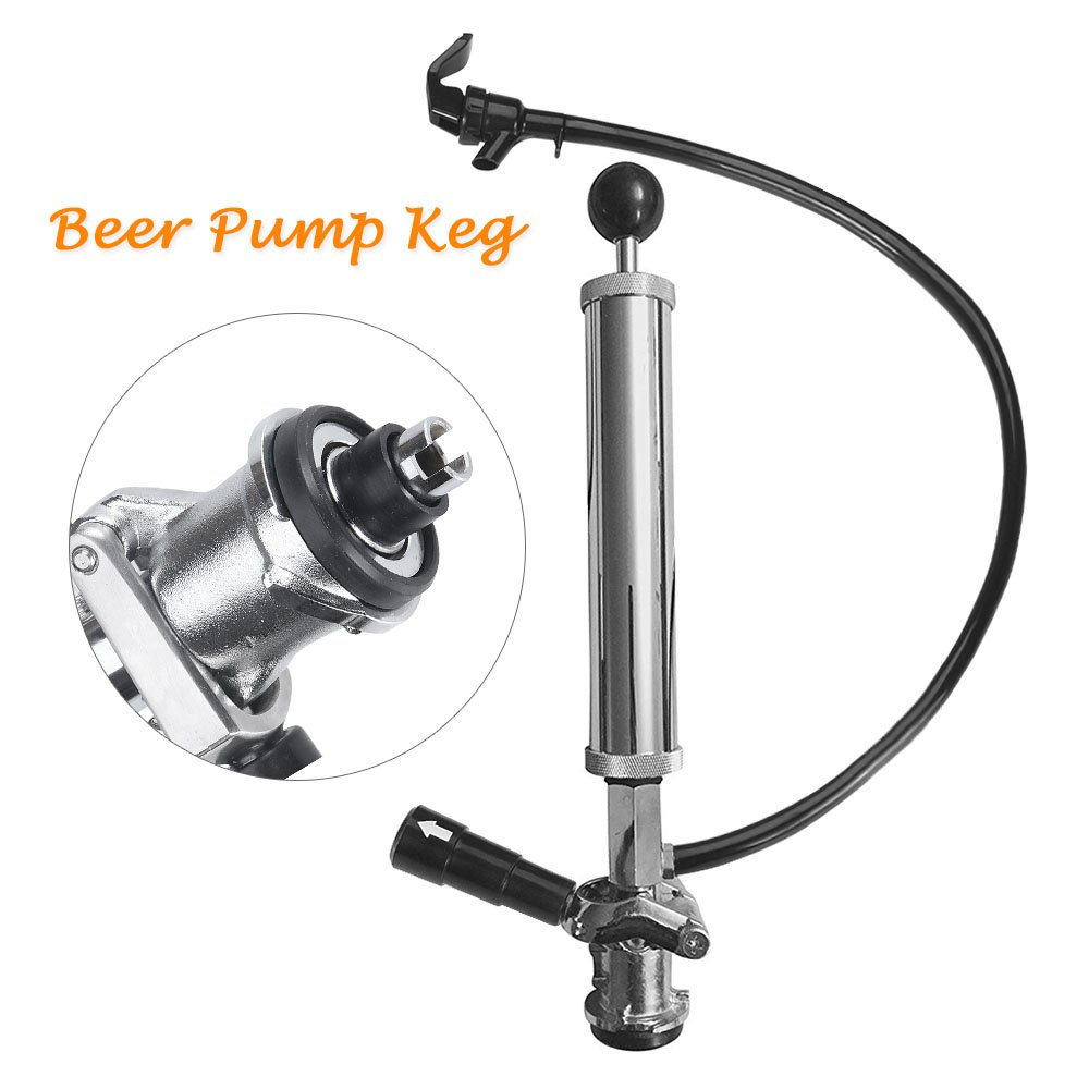Beer Party Pump 8 inch Beer Pump Keg Tap-Beer Brewing Equipment Picnic Party Pump Sankey D System Stainless Steel Chrome Pump