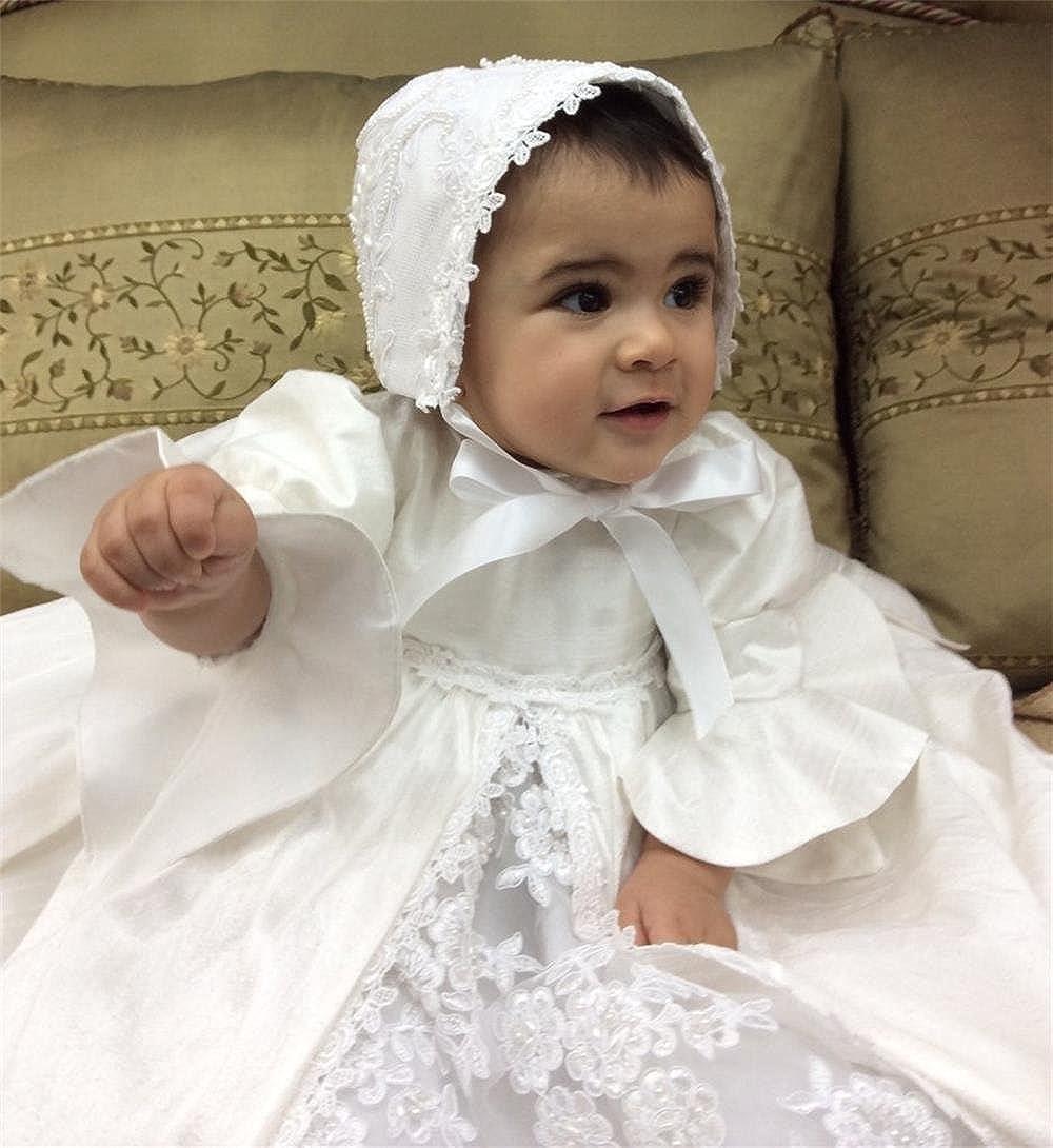 Newdeve Christening Gowns Girls Baptism Dress Bonnet