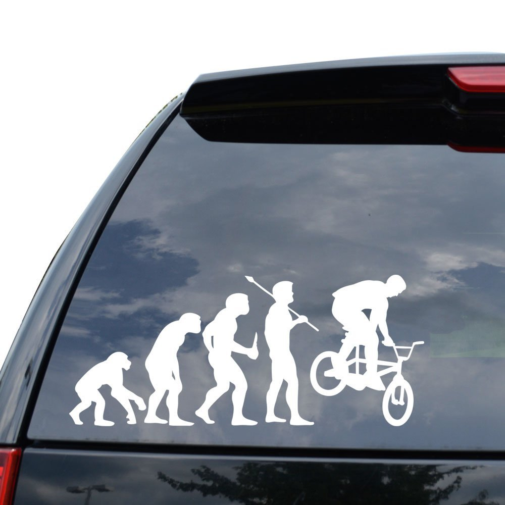 Amazon com theory of evolution bmx bicycle decal sticker car truck motorcycle window ipad laptop wall decor size 11 inch 28 cm wide color gloss