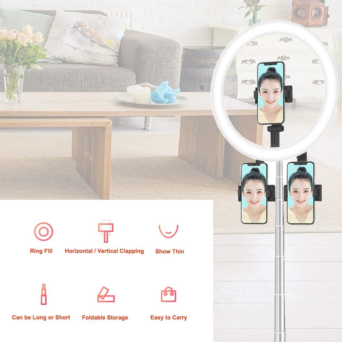 3 Modos de Color alimentaci/ón USB 65 Pulgadas de Alto 10 Niveles de Brillo Anillo de luz LED Plegable de 10 Pulgadas con Soporte para tel/éfono 240 Bombillas Regulables
