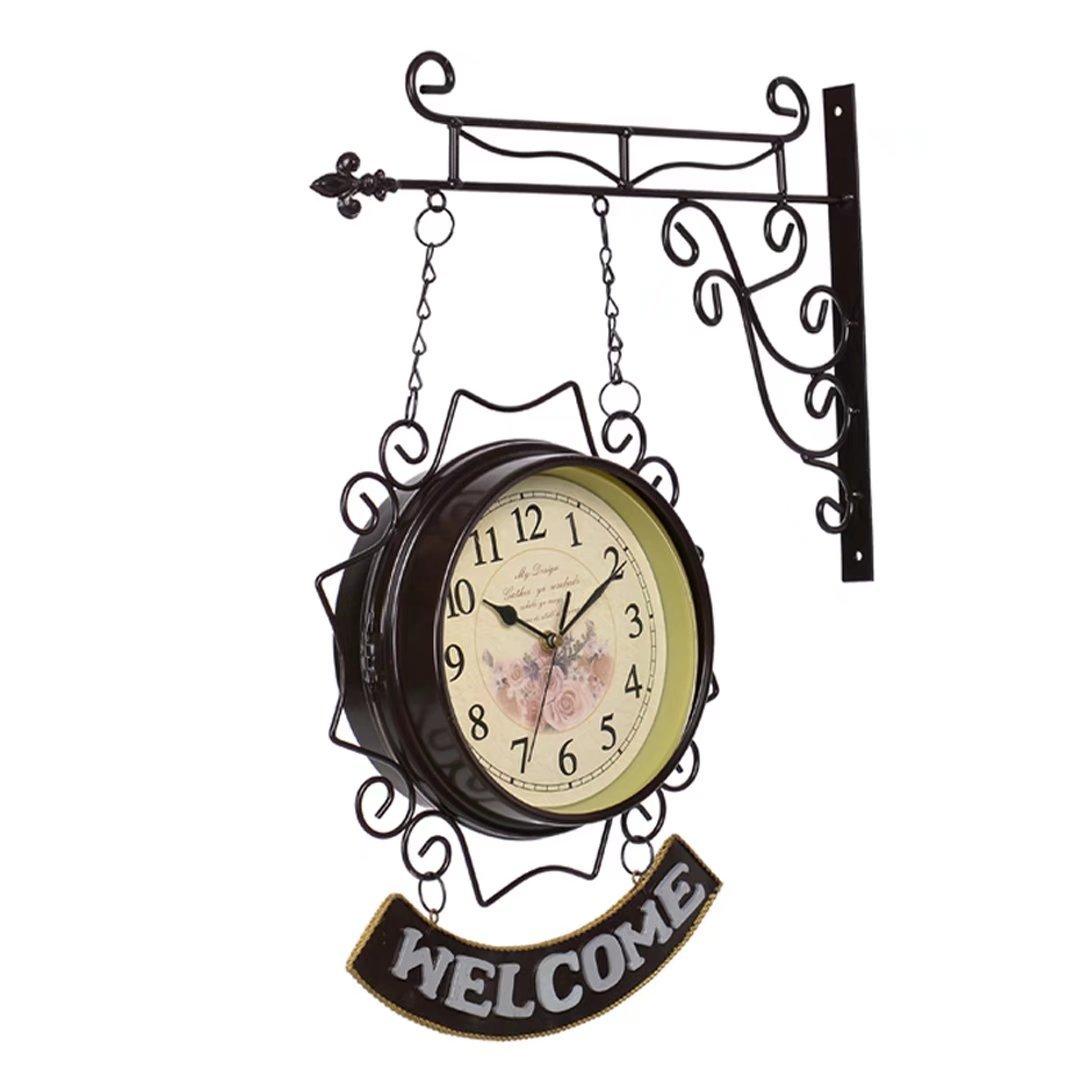 ウエルカム/WELCOME 地中海風 アイアン 両面 掛け時計 おしゃれ 掛時計 壁掛け シズネ インテリア 時計 EBODONG B07C5HS541タイプ2