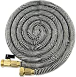 50' Expanding Hose Titan Expandable Garden Hose Solid Brass Connectors Double Layer Latex Core Extra Strength Fabric 3/4 USA Standard Expandable Flexible Water Hose