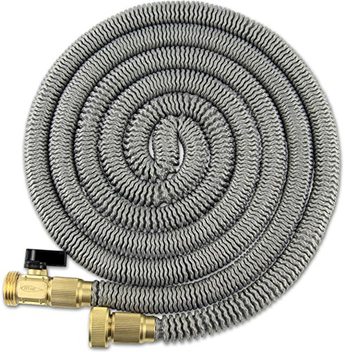 75' Expanding Hose Titan Expandable Garden Hose Solid Brass Connectors Double Layer Latex Core Extra Strength Fabric 3/4 USA Standard Flexible Water Hose