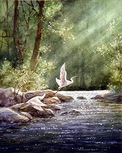 Print of Watercolor Painting - Wildlife, Nature, Lake, Forest, Trees, Peaceful Gift Watercolors ()