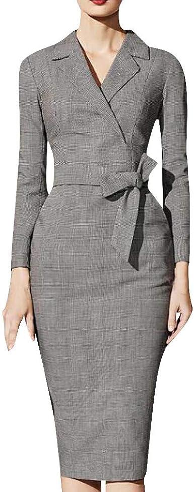 Women Elegant Long Sleeve V Neck Pencil Dress Slim Fit Office Work Party Dresses