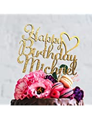 Happy Birthday Personalized Birthday Cake Topper with Customizable Name and Color- Design - 7