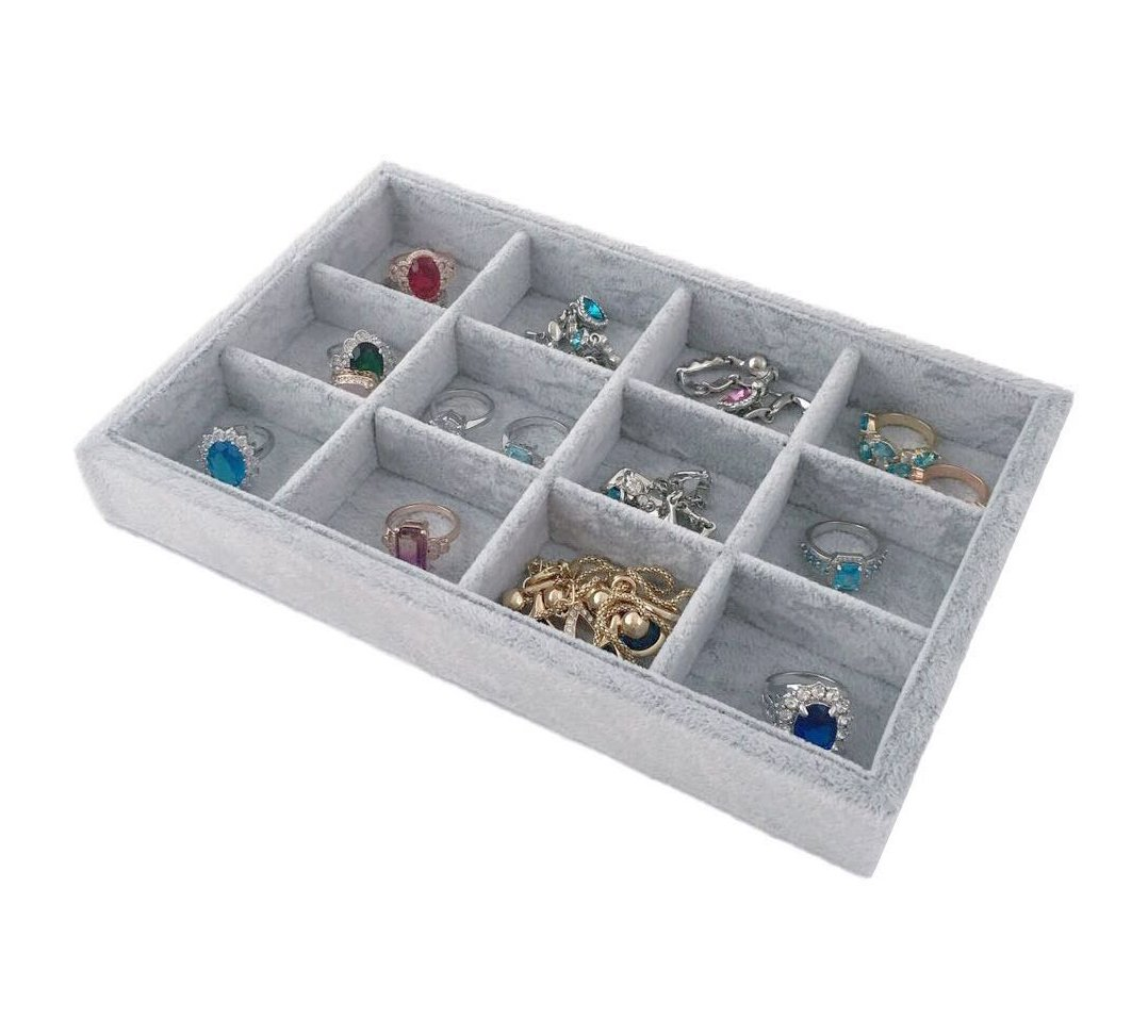 Svea Display Extremely Elegant Multi Functional Jewelry Organizer Premium Quality Velvet Stackable Space Saving 12 Grids Removable Tray