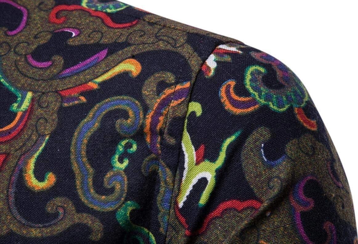 M/&S/&W Mens Leisure Long Sleeve Slim Ethnic Print Button Down Shirts
