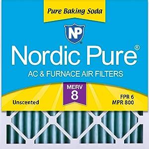 Nordic Pure 20x20x2 Pure Baking Soda Odor Deodorizing AC Furnace Air Filters, 3 PACK, 3 PACK