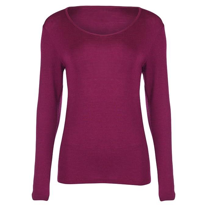 Engel camiseta térmica de manga larga para mujer 70% lana de merino orgánica/30% seda Mulberry: Amazon.es: Ropa y accesorios