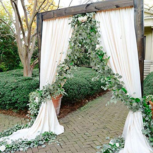2pcs Eucalyptus Vines Faux Silk Silver Dollar Eucalyptus Hanging Garland Greenery Plant for Wedding Holiday Centerpieces-6ft Long (Holiday Garland Faux)
