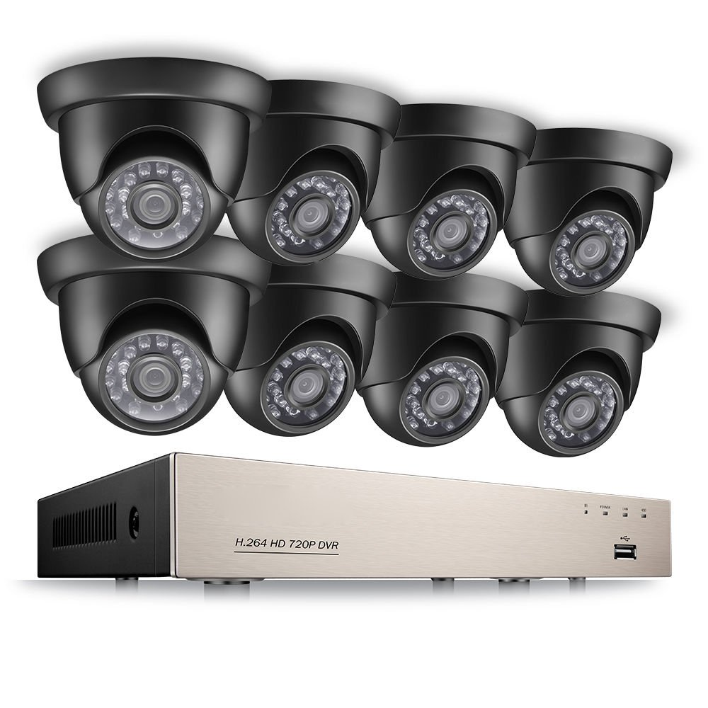 [Upgrade] 8-Channel 720P Outdoor and Home Security Camera System, 1080N HD-TVI Surveillance DVR Recorder and (8)1.0MP 720P(1280TVL) Weatherproof HD Dome CCTV Camera with Customizable Motion Detection and Night Vision.(No Hard Drive)